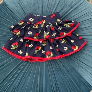 Gymboree cherry skirt with tiered ruffles